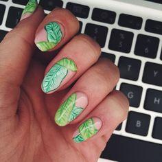 Banana leaf. Banana leaves. Nail Art. Nail designs. Nail color. Hand painted nails. Gorgeous nails. Sierra Unsicker.