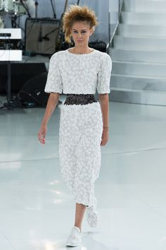 7328141570e05 Chanel Spring 2014 Couture Collection Models had embroidered corsets  underneath their garments, which is a