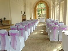 Lavender sashes on white covers at Hestercombe Gardens Taunton