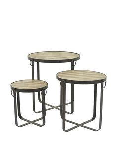 Three Hands Set of 3 Industrial Metal & Wood Side Tables, Black. Full of rustic/industrial charm, this set of 3 metal and wood side tables are sure to add a sophisticated look to any space; dimensions provided for largest table