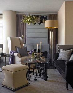 grey couch - beige accents