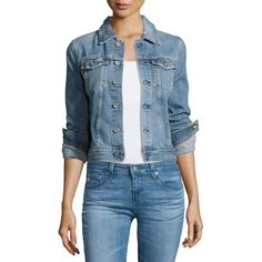 Ag Robyn 12 Years Sunrise Cropped Denim Jacket ($255) ❤ liked on Polyvore featuring outerwear, jackets, indigo, women's apparel jackets, distressed denim jacket, distressed jean jacket, blue jean jacket, button jacket and slim denim jacket