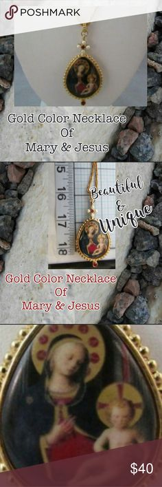 Mary & Jesus Pendant with Necklace Mary & Jesus Pendant with Necklace Lovely pendant with image of Mary & Jesus on it Truly a one of a kind find that you will not likely see again. Make this one yours today by hitting buy now or making an offer. Rock'N Ship is a top 10% Seller on Poshmark and we add new items every day! vintage boutique  Jewelry Necklaces