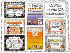 October / November Product Bundle! This product includes all SEVEN of my October and November products in my store. It is valued at $33.50 if purchased individually.  It includes: October Early Finisher, November Early Finisher, Spider Unit, Fall/Halloween Unit, Spooktacular ELA Centers, Pumpkin Investigations, and Thanksgiving Unit.  $