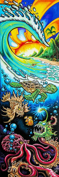 """DEEP INTO PARADISE 10""""x30"""" Limited Edition Gallery Wrapped Canvas - Drew Brophy Art Studios / Son of the Sea, Inc."""