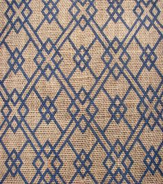 Utility Fabric- Burlap Square Geo Navy Burlap. Bedroom curtains, this would look great with my bedding.