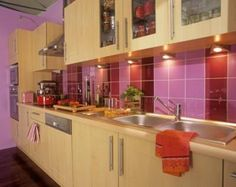 For the home kitchen cupboard backsplash ideas on for Purple and green kitchen ideas