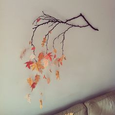 DIY wall decoration with paper leaves