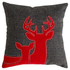 Upcycled felt pillow with reindeer appliques on a houndstooth background.   Product:  Pillow Construction Material...