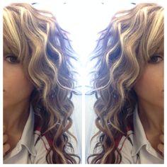 Waves layers blonde brown honey caramel highlights lowlights wavy hair using curling iron