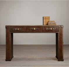 """Mayfair Steamer Trunk 3-Drawer Desk $1276 NET 49""""W X 22""""D X 30""""H"""
