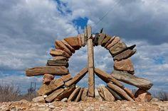 ☮ American Hippie ☮ Peace stone art