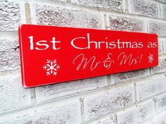 First Christmas 1st Christmas as Mr. & Mrs. wedding sign, Christmas Wedding, Winter wedding decor, newlywed gift, bridal shower gift, Red