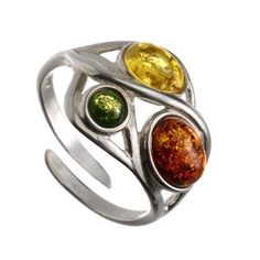 This is one of the kind Baltic Amber Sterling Silver Adjustable Ring by HolidayGiftShops with multicolor amber stones.