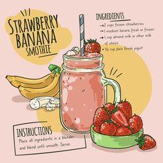 Smoothie Menu, Smoothie Recipes, Vegetable Smoothies, Healthy Smoothies, Cute Food, Yummy Food, Recipe Drawing, Food Doodles, Food Journal