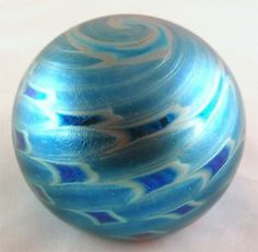 stuart abelman glass   Stuart Abelman's Iridescent Light Blue Wide Optic Paperweight!!