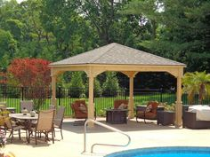 Here is a simple pavilion by a pool. This pavilion is a great pavilion for any yard. It can be placed in a spot and left there for some time, but can also be moved if your needs change or if you want to rearrange your outdoor design. Curved Pergola, Cheap Pergola, Covered Pergola, Pergola Ideas, Backyard Ideas, Pergola Kits, Pool Ideas, Outdoor Ideas, Outdoor