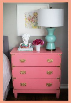 @ForRent.com Bright pink mini dresser with cute light blue lamp :) Super cute and girly