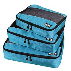 Packing Cubes Travel Luggage Organizer Bags Value Set for Travel Durable 3 Piece Weekender Set 020004Qianlan *** For more information, visit image link.