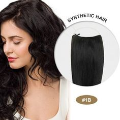 """Halo Hair Extensiones 100% Human Remy natural hair 18"""" natural black by peloxtensiones on Etsy"""