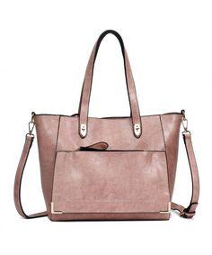 f5439f713e99 Women PU Leather Large Shoulder Bag Ladies Purse Messenger Bag Tote Bags -  Pink-b