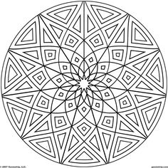 Kaleidoscope Coloring Pages | Geometrip.com - Free Geometric Coloring Designs - Circles