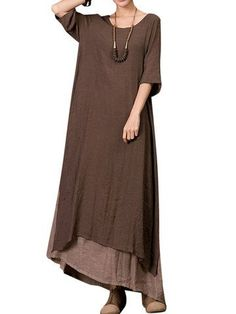 O-Newe Vintage Solid Half Sleeve Fake Two-Piece Maxi Dress For Women