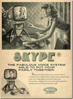 SKYPE: La agencia MOMA en Sao Paulo BR, creó anuncios al estilo de los diseños de años 50, para las redes sociales actuales.