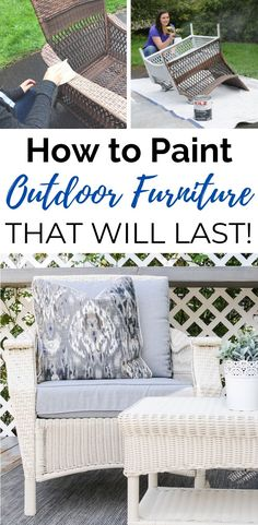 How To Paint Outdoor Furniture That Will Last - Modern Design Outdoor Furniture Makeover, Diy Outdoor Furniture, Colorful Furniture, Painted Outdoor Furniture, Outdoor Furniture Sets, Wicker Patio Furniture, Painting Wicker Furniture, Furniture, Shabby Chic Furniture