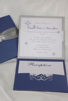 Wedding Invitation Royal Blue and Silver Wedding by AmiraDesign