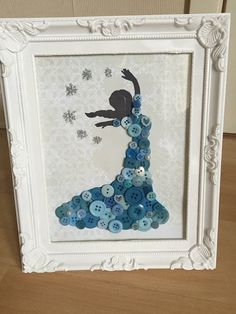 Princess Elsa / Frozen Disney button art in shabby chic white frame.