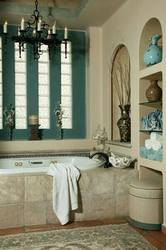 Teal and neutral colored bathroom
