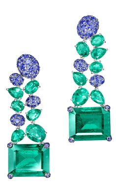 NEW de GRISOGONO High Jewellery Earrings in White Gold with Emeralds & Blue…