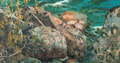 Helmi Biese (Finnish, 1867 - Cliffs by the Shore (via Bukowskis) Helene Schjerfbeck, Helmet, Rivers, Painters, Image, Artists, Women, Finland, Sweden