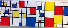mondrian : collage de carrés couleur encadrés par des bandes noires