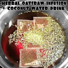 Made another yummy and functional oatsraw infusion for the week. Mixed with #coconutwater, this is one refreshing and super healthy beverage. Infused oatstraw, nettles, hibiscus, rose hips, lemongrass, peppermint and lemon overnight. Once done, mixed in some fresh #coconut water for a super #healthy drink that is: high in calcium + potassium + magnesium + vitamins A, B, C, D, E + iron + flavanoids + antioxidants + niacin + folate + zinc + electrolytes.