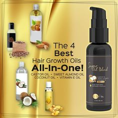 PURE Castor Oil with Sweet Almond Oil, Coconut Oil and Vitamin E Oil - Best Hair…