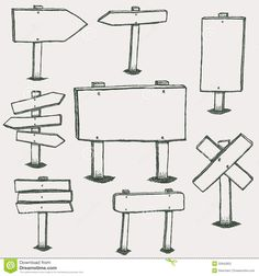 Illustration about Doodle wood signs, hand drawn wooden direction arrows vector set. Sketch wooden arrow, illustration of frame wooden plank. Illustration of drawing, direction, banner - 89114523 Doodle Inspiration, Bullet Journal Inspiration, Arrow Illustration, Bujo Doodles, Bullet Journal Writing, Bullet Journals, Sketch Notes, Easy Drawings, Wood Signs