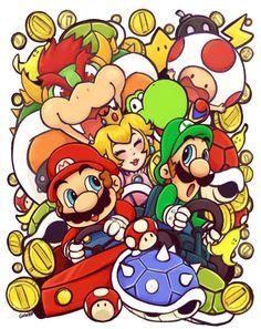 Mario kart cancer fundraiser by scribblin on DeviantArt Super Mario Art, Super Mario World, Mario Kart, Mario And Princess Peach, Paper Mario, Super Mario Brothers, Super Smash Bros, Cartoon Art, Doodle Art