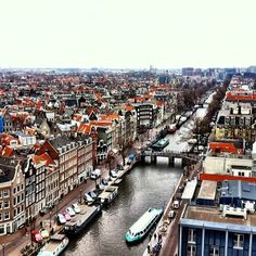 The famous canals of #Amsterdam.    Photo courtesy of 1worldtravel on Instagram.