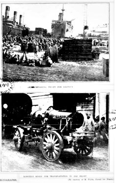 WWI, 9 June 1917; 'Troops for Salonica; Howitzer ready for transportation to the Front' - The Australasian