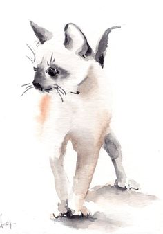 Kitten Painting Original Watercolor Painting Cat por CanotStop