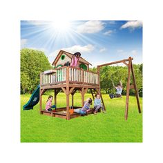 Caister Playhouse – Kids Wooden Lookout post Wendy House With Big Wavy Slide, Swing and Sandpit | Gifts for kids online