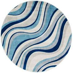 Nourison Somerset Ivory/Blue 5 ft. 6 in. x 5 ft. 6 in. Round Area Rug-312211 - The Home Depot