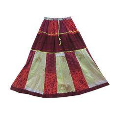 Mogulinterior Brown Patchwork Skirt Cotton Crinkle Tier