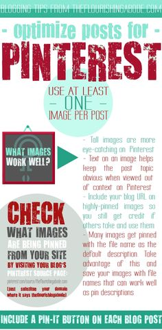 blogging advice & Tips - Pinterest tips - Tips to Optimize Your #Blog Posts for #Sharing on #Pinterest