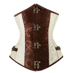 7e2cad42cf Renaissance Ivory Brown Steel Boned Steampunk Buckles Corset. Slimming  CorsetWaist Training ...