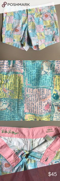 """Lilly Pulitzer Horoscope Callahan Shorts EUC   Size 2   100% cotton   """"Written in the Stars"""" horoscope pattern   Waist: 15""""   Inseam: 5""""   Outseam: 12""""   Leg opening: 11""""   Front rise: 8""""   Hips: 17.75"""" Lilly Pulitzer Shorts"""