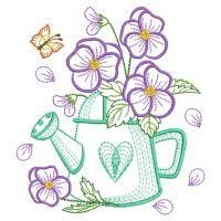 Vintage Embroidery Designs Vintage Flowering Watering Can 6 - 3 Sizes! Hand Embroidery Patterns Flowers, Paper Embroidery, Applique Patterns, Vintage Embroidery, Custom Embroidery, Applique Quilts, Machine Embroidery Designs, Embroidery Stitches, Applique Designs