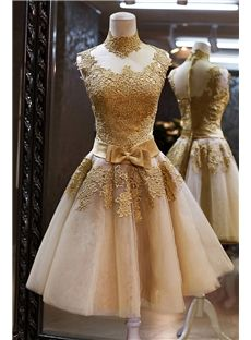 Vintage Lace Zipper-Up Short A-Line High-Neck Bowknot Cocktail Dress & colored Prom-Dresses